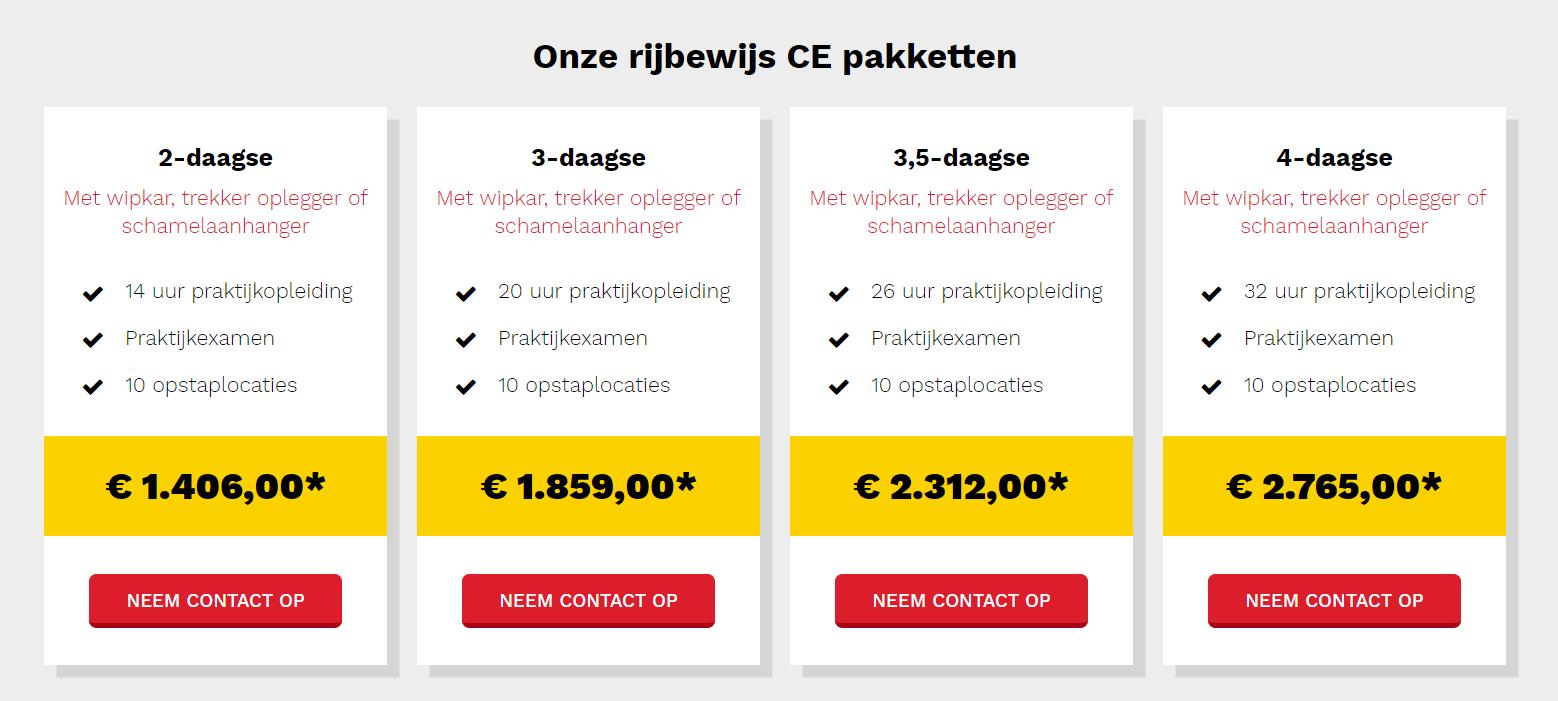 screenshot webdesign pakketten Smits Rijopleidingen
