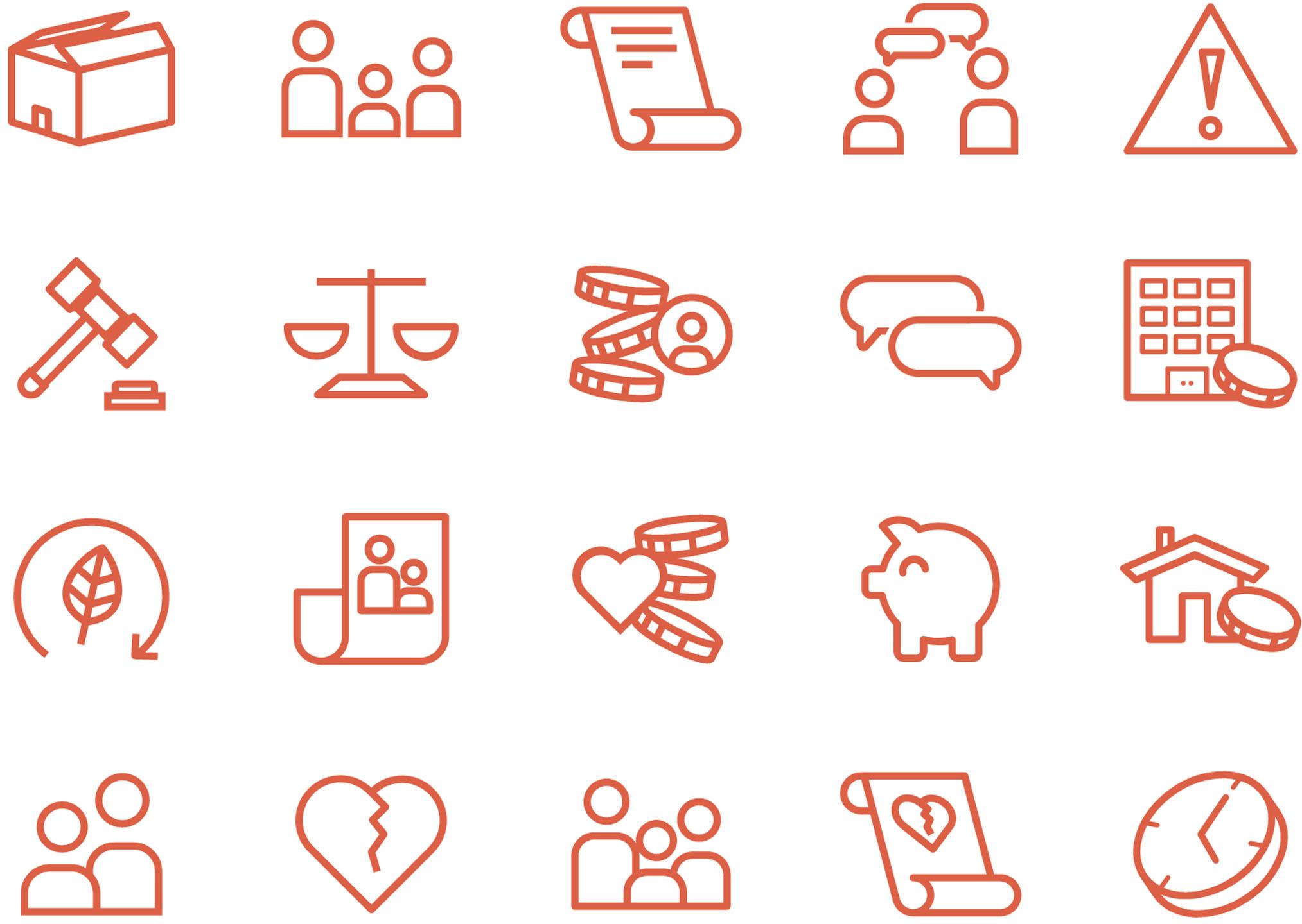 Verschillende iconen die context geven aan de diensten van Link Juristen & Mediatiors