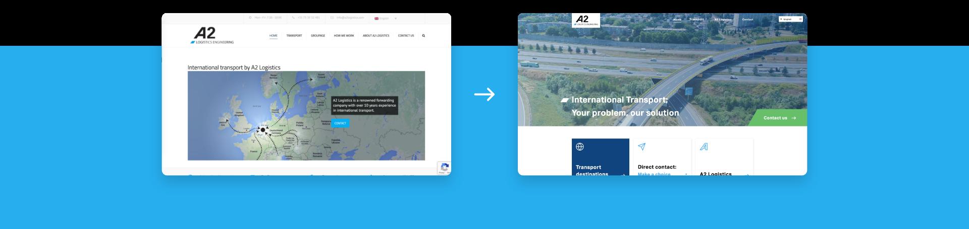 oude website vs nieuwe website voor A2 logistics